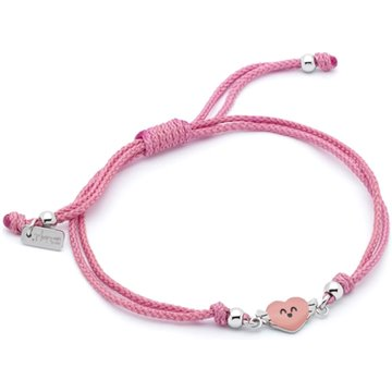 PULSERA MR WONDERFUL NYLON CORAZON ROSA